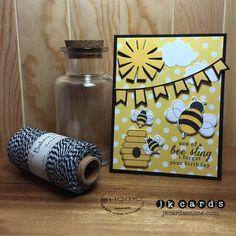 Scrap-A-Latte Card Class, Reverse Confetti, Bees