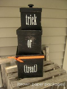 I made these for Halloween and then put wrapping paper on for Christmas gifts to decorate my front porch.