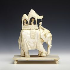 "Unknown Artist   ""Elephant with howdah and passengers (Model)""  Carved ivory, mid 19th century  Victoria & Albert Museum, London, England"