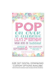 Bubble Theme Birthday Party Invitation 5x7