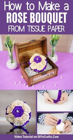 Follow this tutorial for a tissue paper rose bouquet that is stunning and ideal for turning into a centerpiece, wedding bouquet, or adding to a simple vase! This is a perfect paper rose tutorial that is ideal for wedding decor! #PaperRose #TissuePaperRose #PaperFlower #PaperCraft #DIYRose Diy Craft Projects, Crafts For Kids, Diy Crafts, Paper Video, Rose Tutorial, Create And Craft, Paper Roses, Rose Bouquet, Tissue Paper