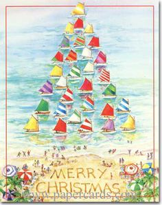 Sailboat Tree (1 card/1 envelope) Red Farm Studios Nautical Christmas Card - FRONT: Merry Christmas  INSIDE: Wishing you smooth sailing this Holiday Season, and throughout the New Year.