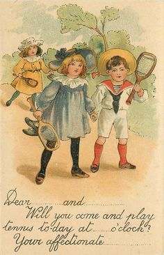 vignette of boy and girl with raquets in front, another girl behind also with raquet