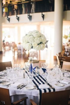 High Centerpiece with Navy and White Runner  Color on table, mini lanterns with candles, hydrangeas