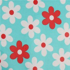 blue Michael Miller premium laminate fabric flowers  beautiful light blue soft fabric with red and white flowers from the USA