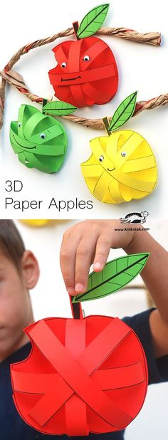 Paper Apples for a preschool or kindergarten Apple Unit Apple Activities, Autumn Activities, Preschool Activities, Children Activities, Preschool Learning, September Crafts, Art For Kids, Crafts For Kids, Apple Theme