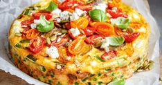 Healthy spring vegetable and goats cheese frittata recipe? Packed with fresh spring produce and under calories, this cheesy frittata is perfect for midweek dinners or weekend picnics. Vegetable Frittata, Vegetable Dishes, Vegetable Recipes, Vegetarian Recipes, Vegetable Tart, Egg Recipes, Light Recipes, Kitchen Recipes, Cooking Recipes