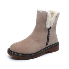 e7ef1225e Fashion Autumn Winter Boots Fur Leather Suede Brand New Women Flats Snow  Boots Plush Warm Female Shoes Plus size 35 43-in Snow Boots from Shoes on  ...