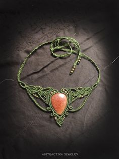 Woodlands macrame necklace with red quartz by AbstractikaCrafts