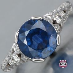 Art Deco Sapphire Engagement Ring