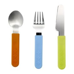 $4 SMASKA 3-piece flatware set IKEA. They are colorful and good quality for kids.  I bought a few extra sets for our play dates.