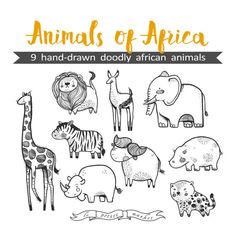 Hand Drawn Cute Animals of Africa Clipart Illustration, Printable Coloring Sheet Animal Sticker sheet, Digital Download, African Fauna
