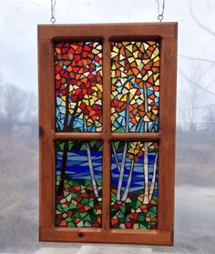Autumn Woods Stained Glass Mosaic Panel for Window, Colorful Fall Leaves with Maple and Birch Trees by River by NiagaraGlassMosaics on Etsy Mosaic Artwork, Glass Artwork, Diy Canvas, Canvas Wall Art, Mosaic Windows, Modern Stained Glass, Mosaic Designs, Mosaic Glass, Autumn Leaves