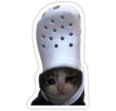 'Crying Cat Croc Meme' Sticker by bgsmall Bubble Stickers, Meme Stickers, Snapchat Stickers, Cool Stickers, Printable Stickers, Laptop Stickers, Snapchat Meme, Hipster Meme, Collage Vintage