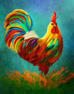 """Daily Paintworks - """"King of the Coop"""" - Original Fine Art for Sale - © Sunny Williams Rooster Painting, Rooster Art, Ceramic Rooster, Chicken Painting, Chicken Art, Chicken Images, Chickens And Roosters, Pictures To Paint, Fine Art Gallery"""