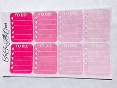 8 To Do Check List For Erin Condren Life Planners (Pink Set)