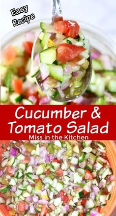 Cucumber Tomato Salad, Cucumber Recipes, Salad Recipes, Broccoli Salad, Dessert Recipes, Side Dishes Easy, Side Dish Recipes, Delicious Dishes, Vegetable Dishes