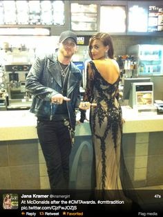 Brantley Gilbert and Jana Kramer at Mickey D's after the cmt awards