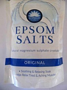 Epsom Salts natural magnesium sulphate crystals. #ELYSIUMSPA Vodka Bottle, Water Bottle, Magnesium Sulfate, Epsom Salt, Bath Salts, Bath And Body, Crystals, Natural, Water Bottles