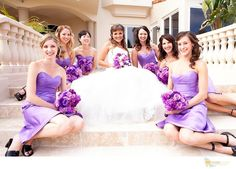 Purple Bridesmaids and Bridal Bouquets By Tustin Florist
