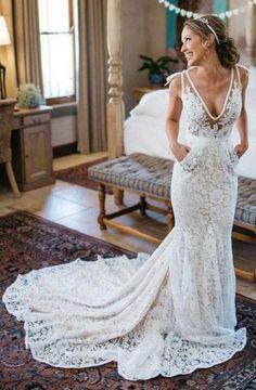 Mermaid Deep V-Neck Sleeveless Ruched Backless Lace Court Train Wedding Dress TN0072
