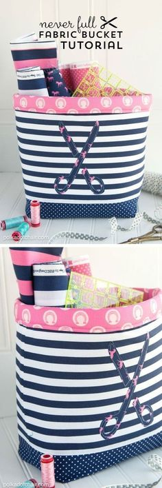 """Never Full"" Fabric Basket Sewing Tutorial and free sewing pattern by Melissa of http://polkadotchair.com"