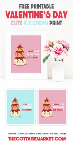 Free Printable Valentine's Day Cute Ice Cream Print.  Perfect for some new Wall Art!