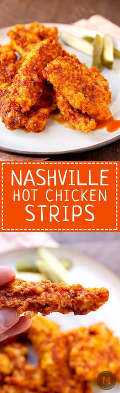 Nashville Hot Chicken Strips: 🍗 🔥 Traditional Nashville hot chicken is all the rage these days, but you don't have to go all the way to Tennessee to get it. Thanks to a simple (and dare-worthy) chili oil, you can make it at home! I like to make chicken strips with it, but you could use it on full pieces also! Get ready to sweat!   macheesmo.com