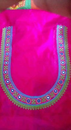 Kurti Embroidery Design, Embroidery Neck Designs, Embroidery Works, Simple Embroidery, Hand Work Blouse Design, Sari Blouse Designs, Bridal Blouse Designs, Blouse Patterns, Kutch Work Designs