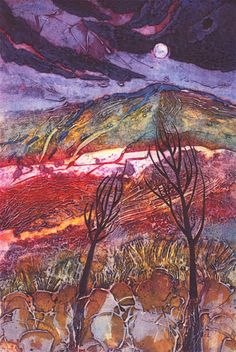 Moon Rising: Winter trees, Collagraph, 37x25cm
