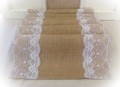 "Burlap & Lace Table Runner 16"" or 18"" wide with White or Ivory Lace - Wedding runner, home decor, lace runner, burlap runner by CreativePlaces on Etsy https://www.etsy.com/listing/221687324/burlap-lace-table-runner-16-or-18-wide"