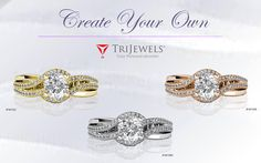 TWO STEPS TO THE PERFECT DIAMOND ENGAGEMENT RING..  You Design It... We Create It.... #Love #gift #engagementring #diamond #valentinesday #finejewelry #trijewels
