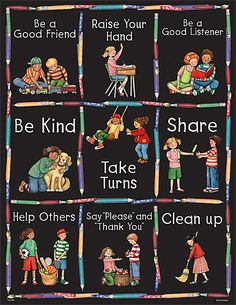 Manners Chart from Susan Winget is part of Manners preschool Convenient, useful learning tools that decorate as they educate! Each chart measures 17 x 22 Related lessons and activities are provid - Manners Preschool, Preschool Classroom Rules, Manners Activities, Manners For Kids, Classroom Rules Poster, Teaching Manners, Classroom Board, Classroom Displays, Preschool Activities