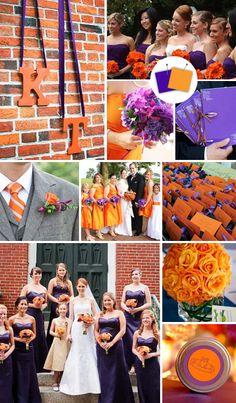orange and purple bright wedding