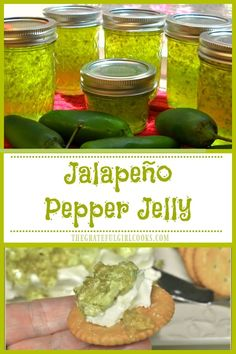 Jalapeño Pepper Jelly is sweet and spicy, can be used for appetizers, or as a glaze for pork or chicken. Canning instructions for long term storage included! / The Grateful Girl Cooks! Green Pepper Jelly, Jalapeno Pepper Jelly, Stuffed Jalapeno Peppers, Pineapple Pepper Jelly Recipe, Jalapeno Jam, Home Canning Recipes, Jam Recipes, Appetizer Recipes, Appetizers