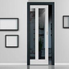Single Pocket Dominica Shaker White sliding door system in three size widths with clear glass. #whitegalzedpocketdoor #contemporarywhitepocketdoor #internalglazedroomdivider