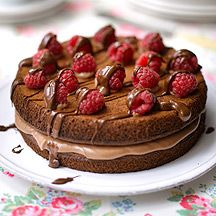 Enjoy a slice of this deliciously decadent chocolate cake for a mere 6 ProPoints values per serving. It's well worth it! Weight Watchers Kuchen, Dessert Weight Watchers, Ww Recipes, Low Calorie Recipes, Cake Recipes, Chicken Recipes, Chocolate Raspberry Cake, Decadent Chocolate Cake, Vegetarian Chocolate