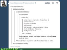 A little menstrual humor :)  Periods are so Metal