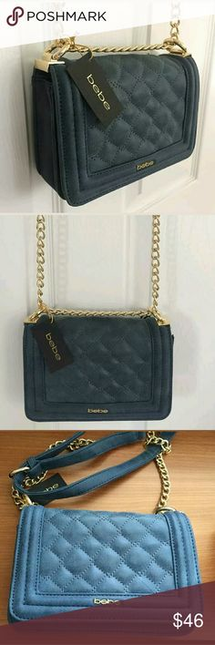 New Authentic Bebe handbag Crossbody PURSE Blue NWT Bebe handbag Crossbody  Shoulder Bag PURSE Bag Lenght 8