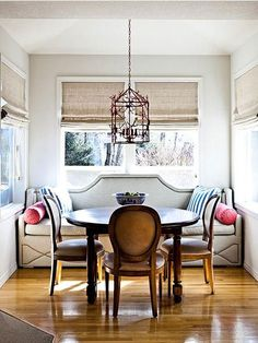 19 Examples - Dining w/a Settee ➤ http://CARLAASTON.com/designed/settee-in-dining-room