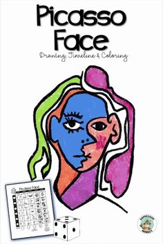 This Picasso face drawing game and art lesson is a fun way to learn about Pablo Picasso and make a portrait in the cubist style.  Roll the dice to pick out the face parts to make a drawing that will be sure to delight your students. History Lessons For Kids, Art Lessons For Kids, Art Activities For Kids, Art Lessons Elementary, Art Sub Plans, Art Lesson Plans, Halloween Art Projects, Easy Halloween, Famous Artists Today