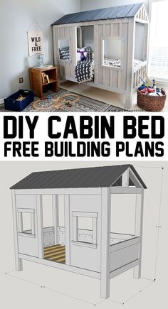 How adorable is this? DIY cabin bed - with free plans! How adorable is this? DIY cabin bed - with free plans! How adorable is this? DIY cabin bed - with free plans! Cabine Diy, Diy Cabin Bed, Diy Bett, Kid Beds, Kids Beds Diy, Kids Beds For Boys, Kids Diy, Cabin Beds For Kids, Cool Kids Beds