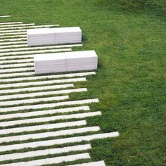 linear stones and benches || Outdoor floor tiles RIGA by FAVARO1