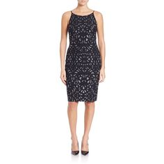 Aidan Mattox Metallic Knit Sheath ($365) ❤ liked on Polyvore featuring dresses, black, keyhole dress, black dress, black sleeveless dress, black keyhole dress and button dress