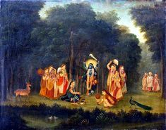Krishna disguised as Kali so that Abhimanyu doesn't catch Him and Radharani together |18th century, Bengal School Painting