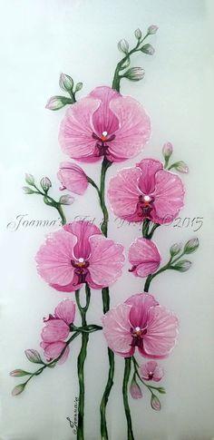 Hand painted silk scarf Pink Orchids flower by JoannaArtDesign