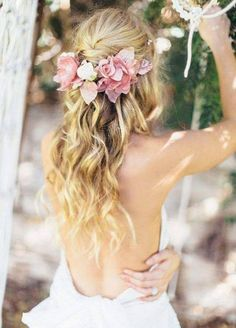 Soft wavy long hair with fresh floral garland