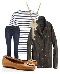 """Untitled #171"" by juliannemv on Polyvore featuring Whistles, J Brand, J.Crew, Tory Burch and The Giving Keys"