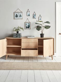 The perfect sideboard for a neutral or Scandi inspired interior, our stylish blonde oak piece features four slender, tapered legs and a subtle chevron finish. Hallway Furniture, Sideboard Furniture, Living Furniture, Chevron Furniture, Furniture Design, Furniture Ideas, Oak Sideboard, Selling Furniture, Studio Interior