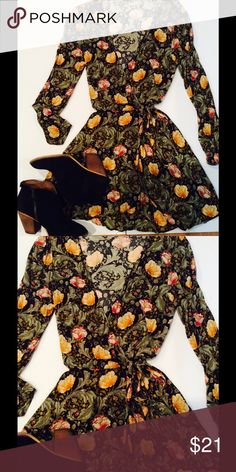 Boho wrap dress Bohemian floral wrap dress in 100% rayon. Ecote by Urban Outfitters. No flaws! Urban Outfitters Dresses
